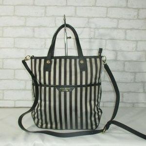 Henri Bendel Striped Leather Trimmed Shoulder Bag